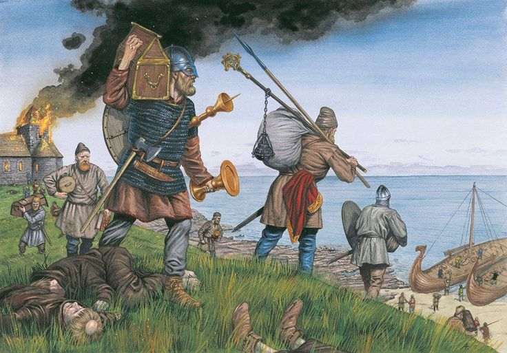 An artistic depiction of the vikings on their many raiding expeditions to monasteries.