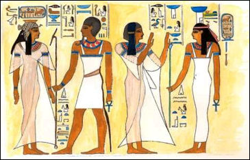 Ancient Egyptian Clothes [Public Domain]. Via Google commons.