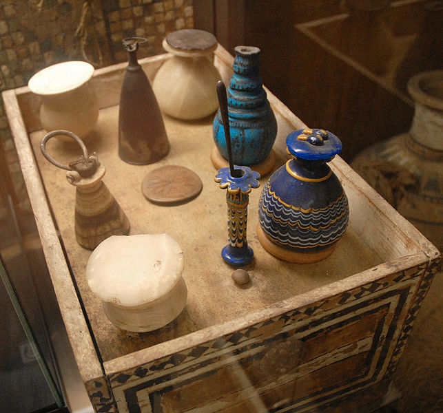 Toilet box and various vessels of Merit [Public Domain]. Via WikiMedia Commons.