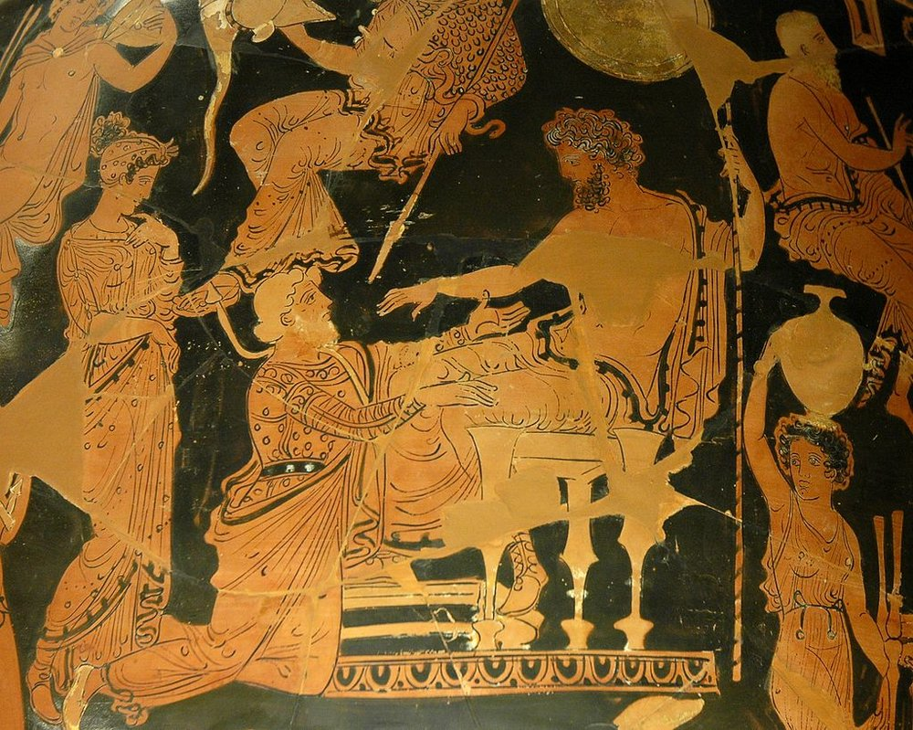 Nguyen, Marie-Lan (2006, January 23). Chryses attempting to ransom his daughter Chryseis from Agamemnon. Side A of an Apulian red-figure volute-crater, ca. 360 BC–350 BC, found in Taranto [Digital Image]. Retrieved from https://commons.wikimedia.org/wiki/File:Chryses_Agamemnon_Louvre_K1.jpg