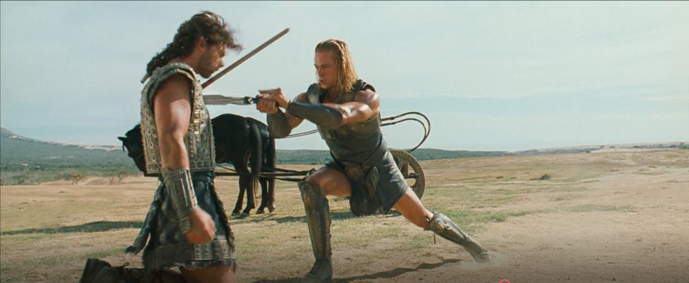 Screenshot from the movie Troy, where Achilles killed Hector (2014)