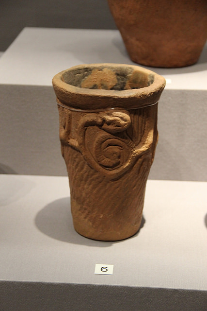 A Jomon Era pot in the Jomon Period Section of Japanese Archaeology Gallery, Tokyo National Museum, Japan