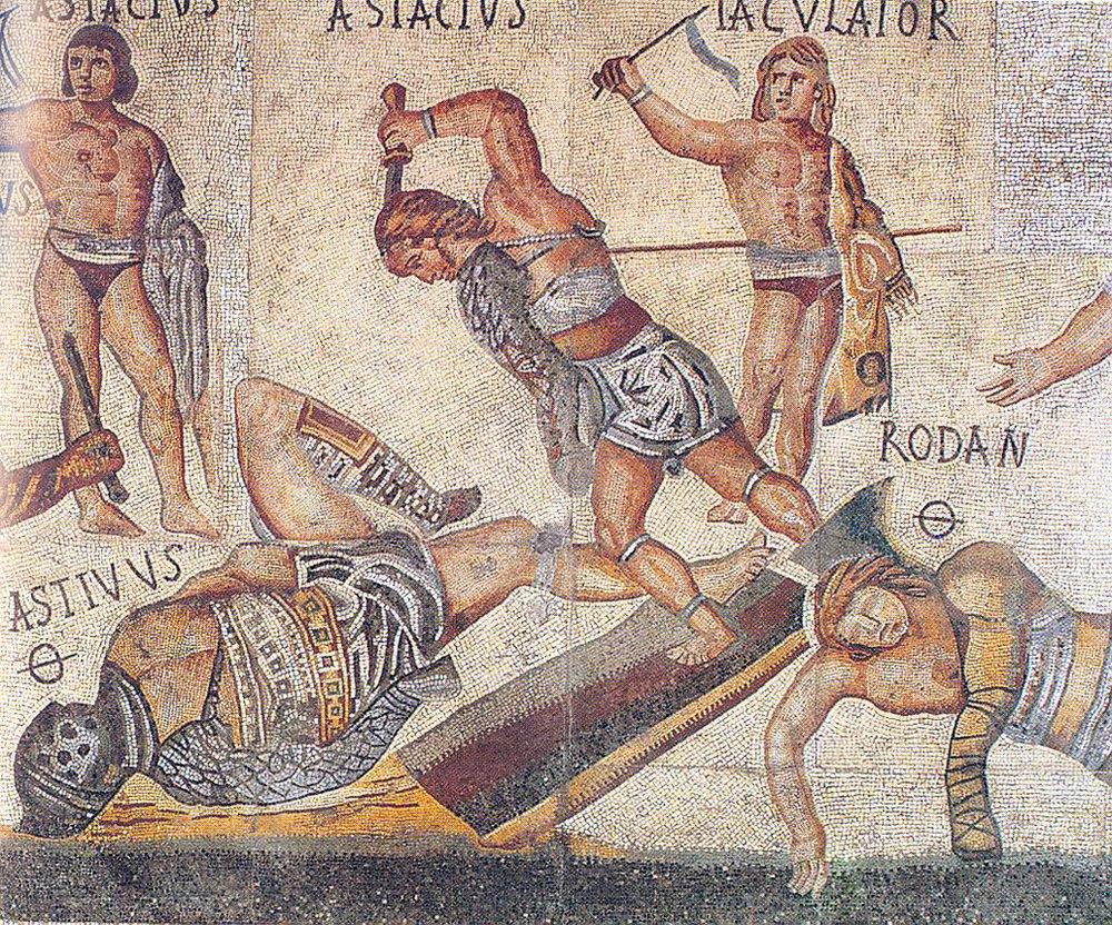 Gladiator Mosaic (4th cent. CE)via Wikimedia Commons