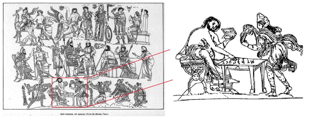 The war council of Darius from the Darius vase [CC0 Public domain via Wikimedia Commons]