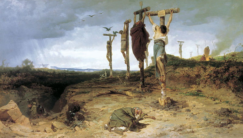 1878 painting by Fedor Andreevich Bronnikov, via Wikimedia Commons Crassus crucified 6,000 survivors of Spartacus's army on the road between Rome and Capua.