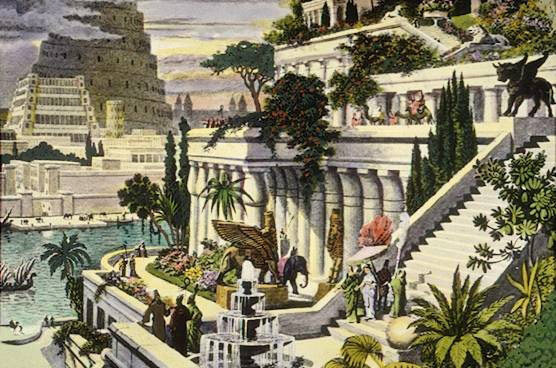 A 16th century depiction of the Hanging Gardens of Babylon by Maarten van Heemskerck, via  Wikimedia Commons