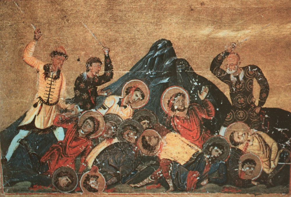 Pagans slaughtering Christians at the first capital of Bulgaria, Pliska. Image from the Menologion of Byzantine Emperor Basil II (Vatican Library). Via Klearchos Kapoutsis on Flickr
