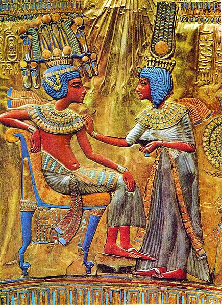 Tutankhamun and his wife (B.C.E 1330). Scan by Pataki Márta (Own Book) [ CC BY-SA 3.0 ], via  Wikimedia Commons
