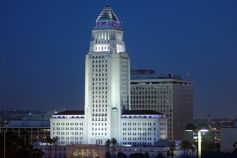 City Hall, Los Angeles. By Michael J Fromholtz (Own work) [ CC BY-SA 3.0 ], via  Wikimedia Commons