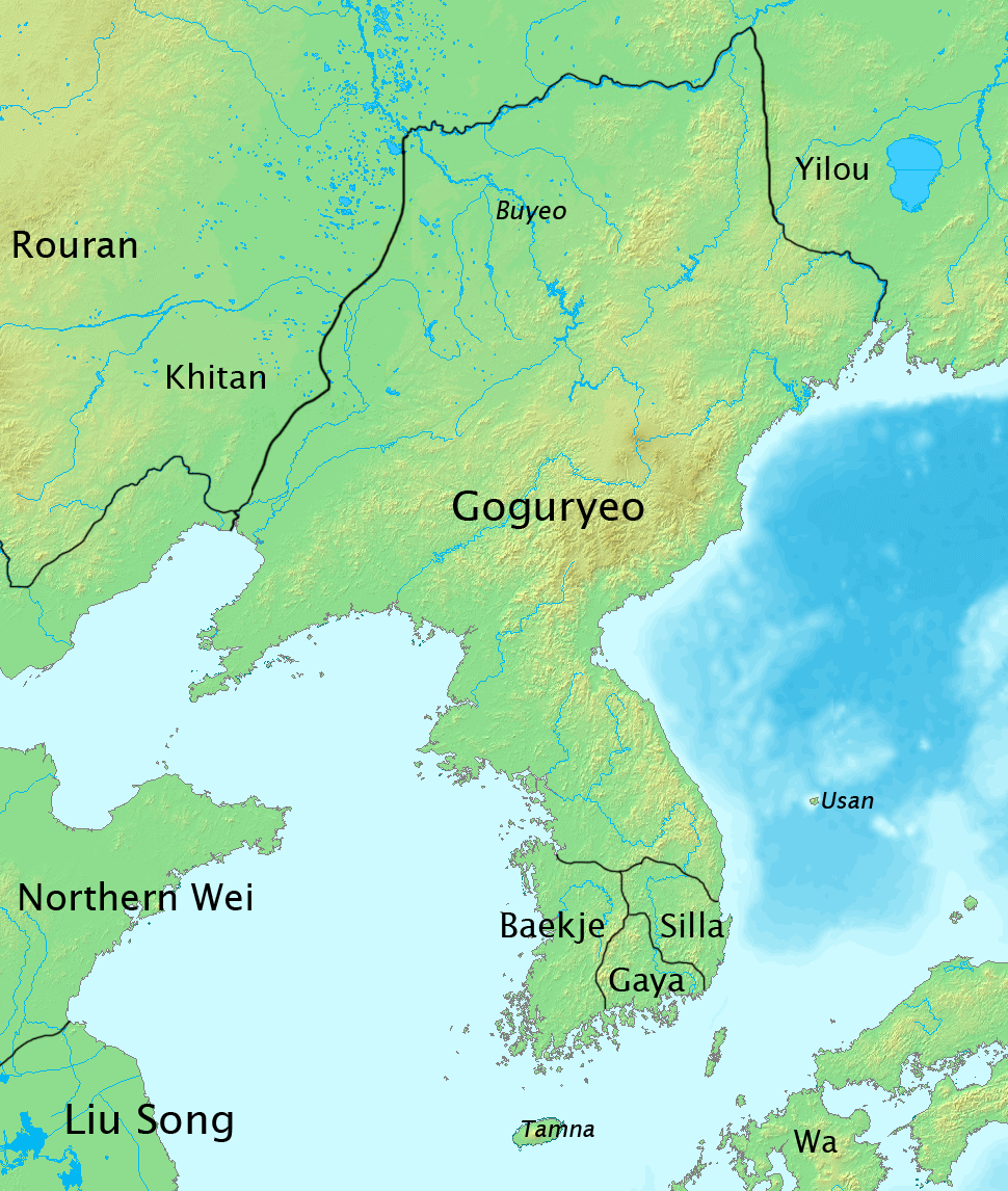 Geographical map of Goguryeo   By KJS615 (Own work) [ CC BY-SA 3.0 ], via  Wikimedia Common