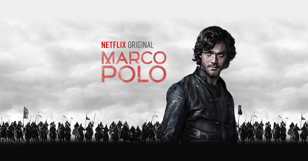 Netflix's Promotional Poster for Marco Polo in 2014. [By Marco Polo - Netflix (August 2014) [© Netflix Inc 1997 - 2016], via Netflix.com: Image used solely for visual identification of subject discussed.]