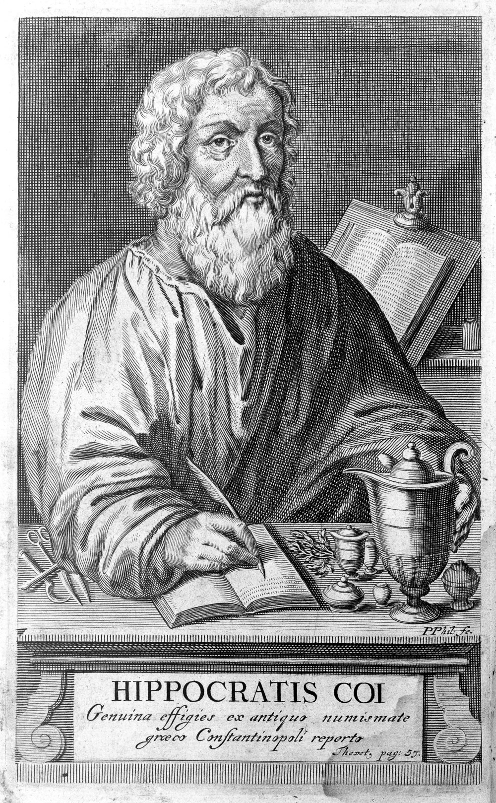Portrait of Hippocrates from Linden, Magni Hippocratis...1665. By Van der Linden, J.A. editor. [ CC BY-SA 4.0  ], via Wikimedia Commons.