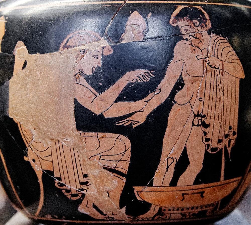 Physician treating a patient. Red-figure Attic aryballos. By Marie-Lan Nguyen. [CC BY-SA 3.0], via Wikimedia Commons.