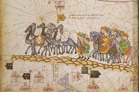 "Cresques Abraham, ""Caravan On The Silk Road, 1380"", via Wikimedia Commons, Public Domain"