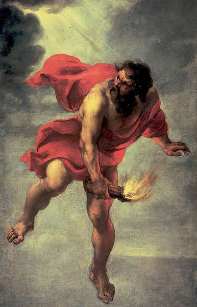 Jan Cossiers - Prometheus carrying fire via Wikimedia Commons