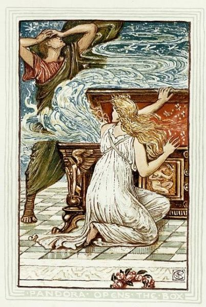 Walter Crane - Pandora opens the box via Wikimedia Commons