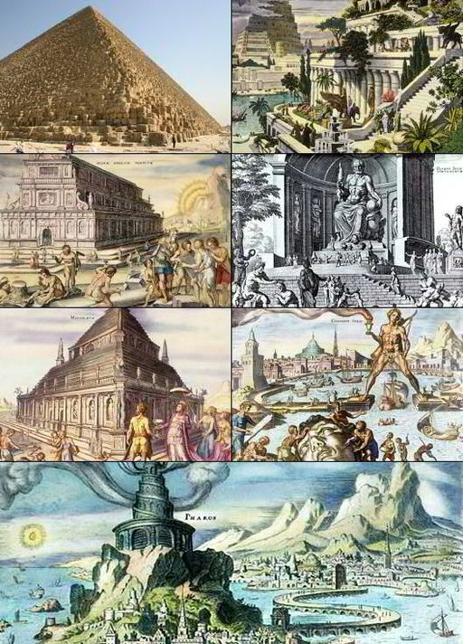 Montage image of the Seven Wonders of the World (ancient version). By Frank van Mierlo [GFDL], via Wikimedia Commons.