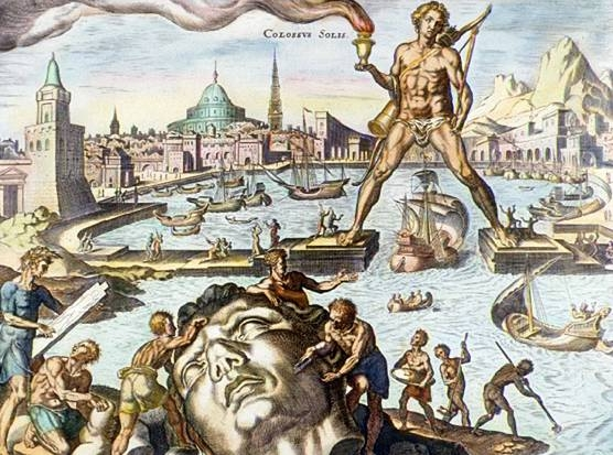 The Colossus of Rhodes . Hand-coloured engraving by Martin Heemskerck via  Wikimedia Commons . Public Domain.