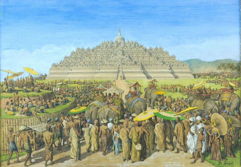 A painting by G.B. Hooijer (c. 1916—1919) reconstructing the scene of Borobudur during its heyday [CC BY-SA 3.0], via  Wikimedia Commons