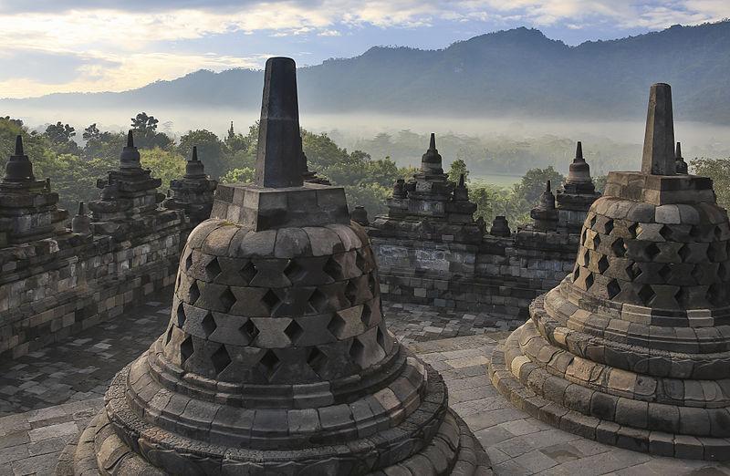 Borobudur temple Park, Indonesia: Perforated Stupas by CEphoto, Uwe Aranas [CC BY-SA 3.0] via  Wikimedia Commons