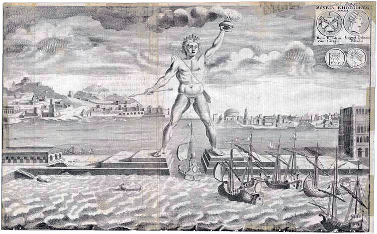 Copper engraved view of the town & the Colossus of Rhodes