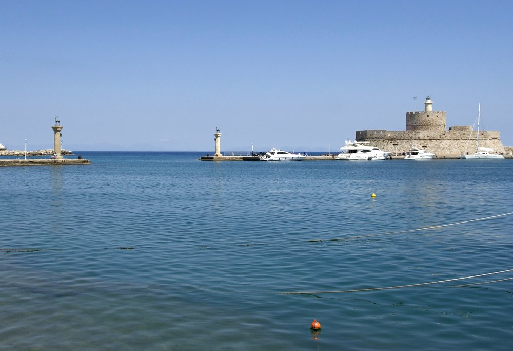 The entry of the old harbour of Rhodes (called Mandraki)