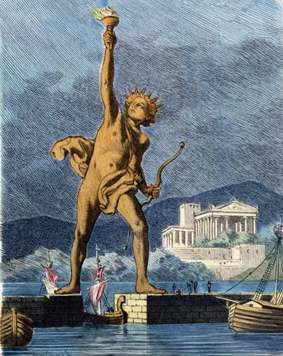The Colossus of Rhodes Straddling over the Harbor   (1886) . Painting by Ferdinand Knab (cropped) via  Wikimedia Commons . Public Domain.