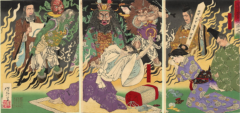 Taira no Kiyomori depicted here as in the throes of a raging fever, confronting the ghosts of his victims, and Enma, the King of Hell. The Fever by Tsukioka Yoshitoshi (August 1883), via Wikimedia Commons, Public Domain.