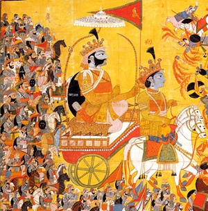 Source: https://commons.wikimedia.org/wiki/File:Arjuna_and_His_Charioteer_Krishna_Confront_Karna,_crop.jpg