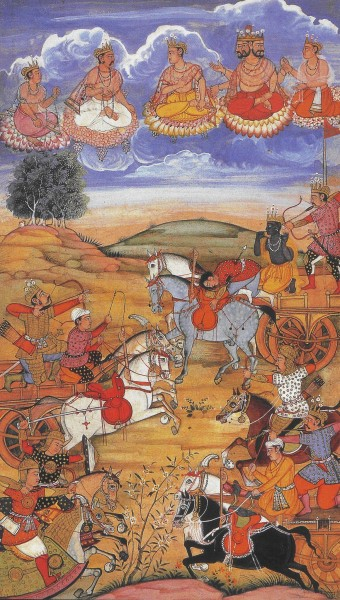 A 16th-century painting illustrating a battle scene in the Bhagavad Gita, during the battle of Kurukshetra. Source: Cristian Violatti. http://www.ancient.eu/image/1414/
