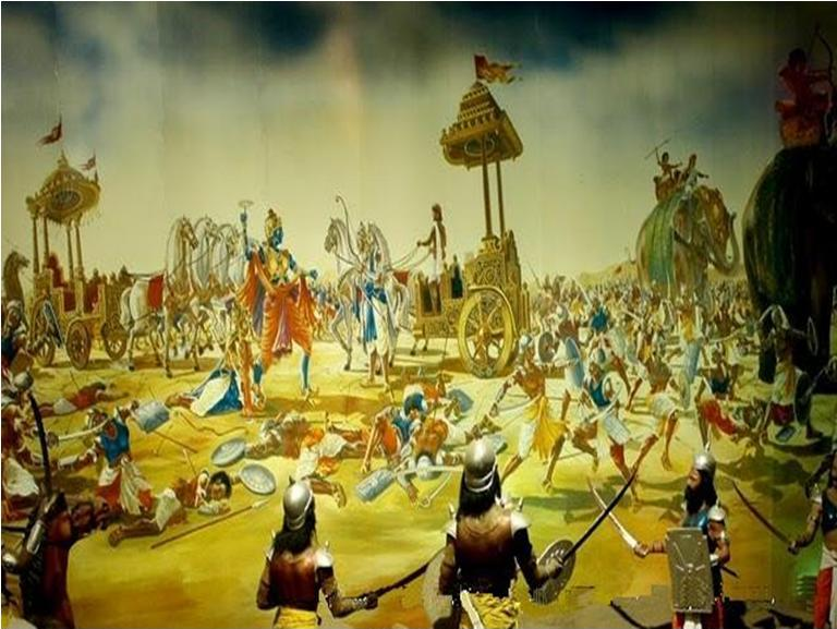9th day War Kurukshetra. Source: https://commons.wikimedia.org/wiki/File:9th_day_War_Kurukshetra.JPG
