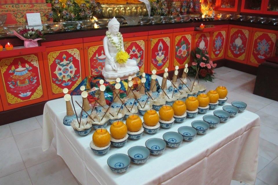 Offering table at Losang Dragpa Centre, Kuala Lumpur,Malaysia; Picture by: Losang Dragpa Centre; taken 2012