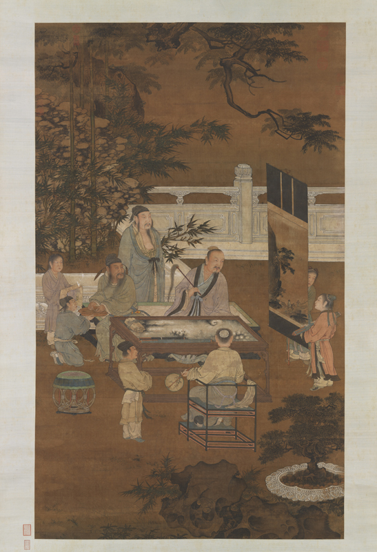 """¼ of art piece """"Eighteen Scholars"""" By: Du Jin (16th c.) Retrieved from Wikimedia Commons Rights: Public Domain"""