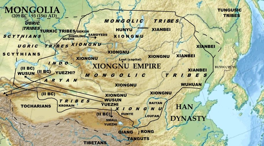 Hunnu Empire.  By Khiruge 2015 (Own work), via Wikimedia Commons. CC BY-SA 4.0.