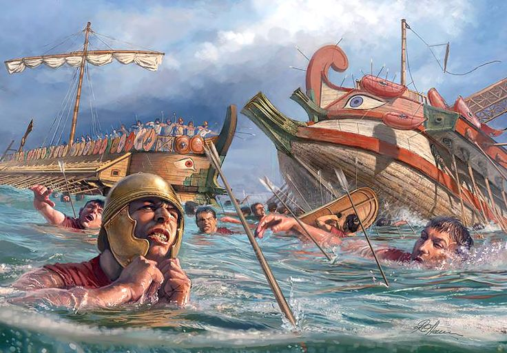 """Naval battle from the First Punic War"" - Radu Oltean   Retrieved from https://s-media-cache-ak0.pinimg.com/736x/7b/2f/c2/7b2fc21c7b245e4bfca3418fbfe96fc3.jpg"