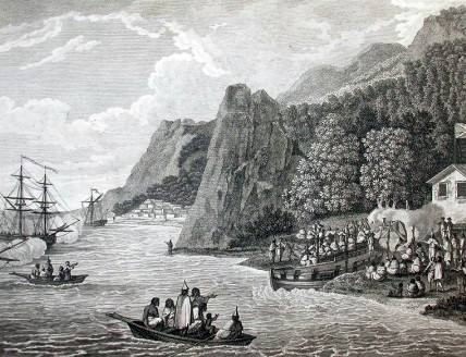 Arrival of Veessels commanded by Capt. John Meares commanded at Nootka (Vancouver Island). Unknown [Public Domain. Via Wikimedia Commons