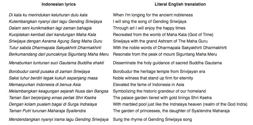 Genting of Sriwijaya lyrics.https://infopalembang.id/lirik-lagu-gending-sriwijaya-palembang/. translated by Wikipedia https://en.wikipedia.org/wiki/Gending_Sriwijaya.
