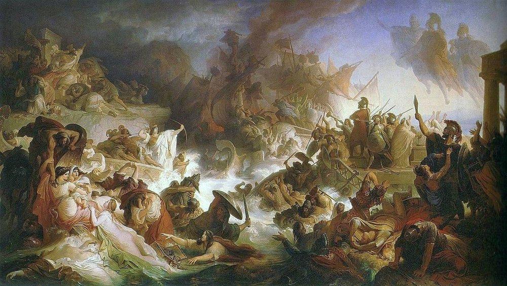Battle of Salamis, Wilhelm von Kaulbach via    Wikimedia Commons