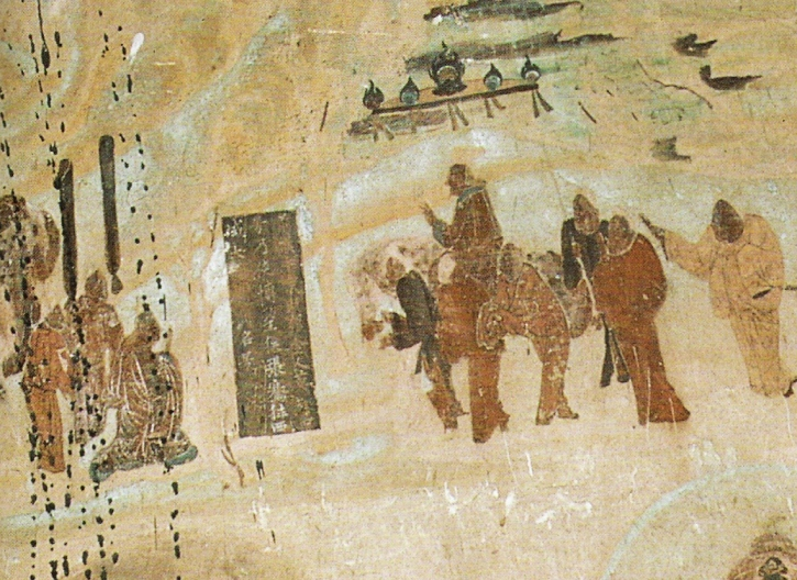 Zhang Qian leaving emperor Han Wudi around 130 BCE, for his expedition to Central Asia. Mural in Cave 323, Mogao Caves, high Tang Dynasty, circa 8th century CE.