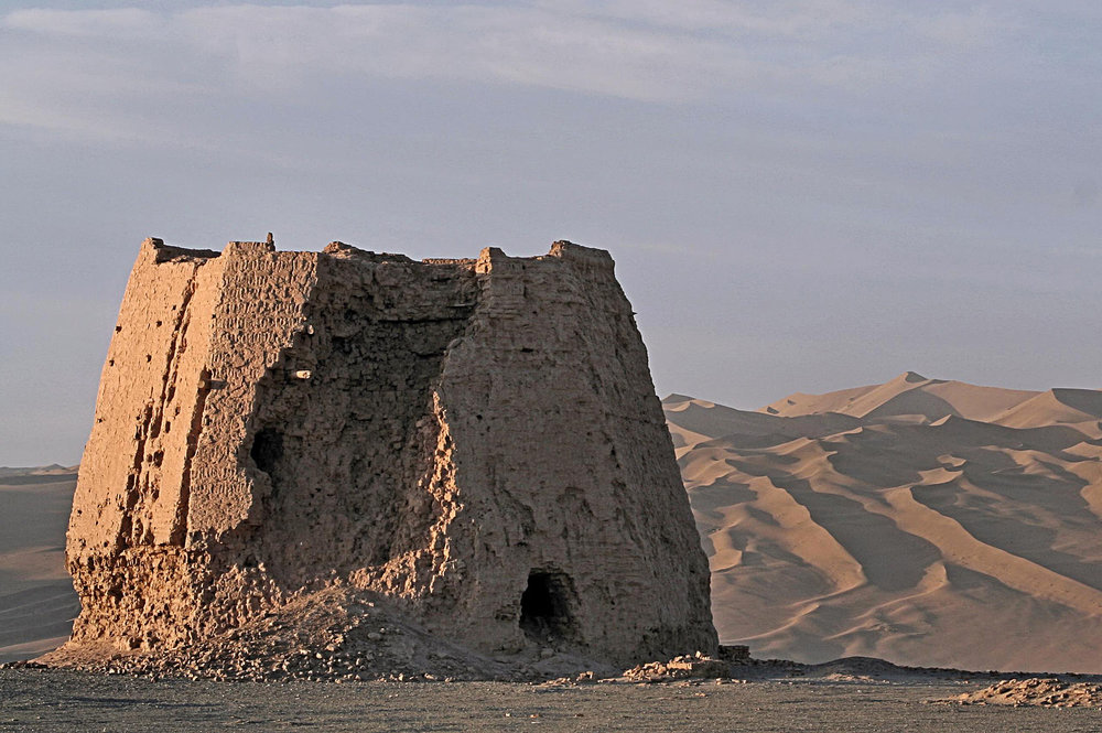 The ruins of a Han rammed-earth watchtower in Dunhuang.