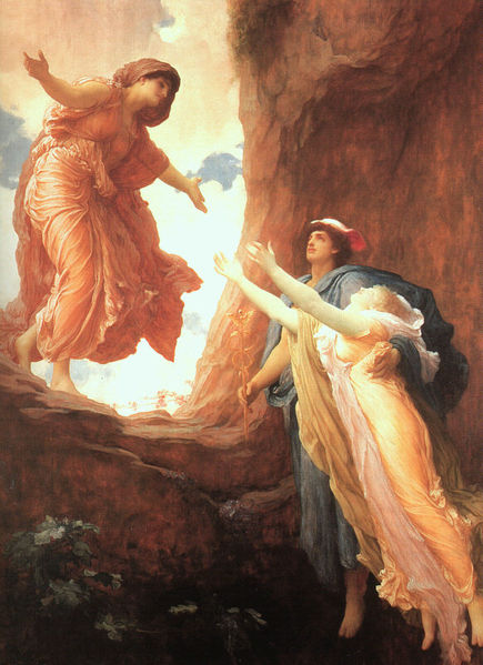 The Return of Persephone to Demeter. Illustration by Frederic Leighton [Public domain],  via  Wikimedia Commons