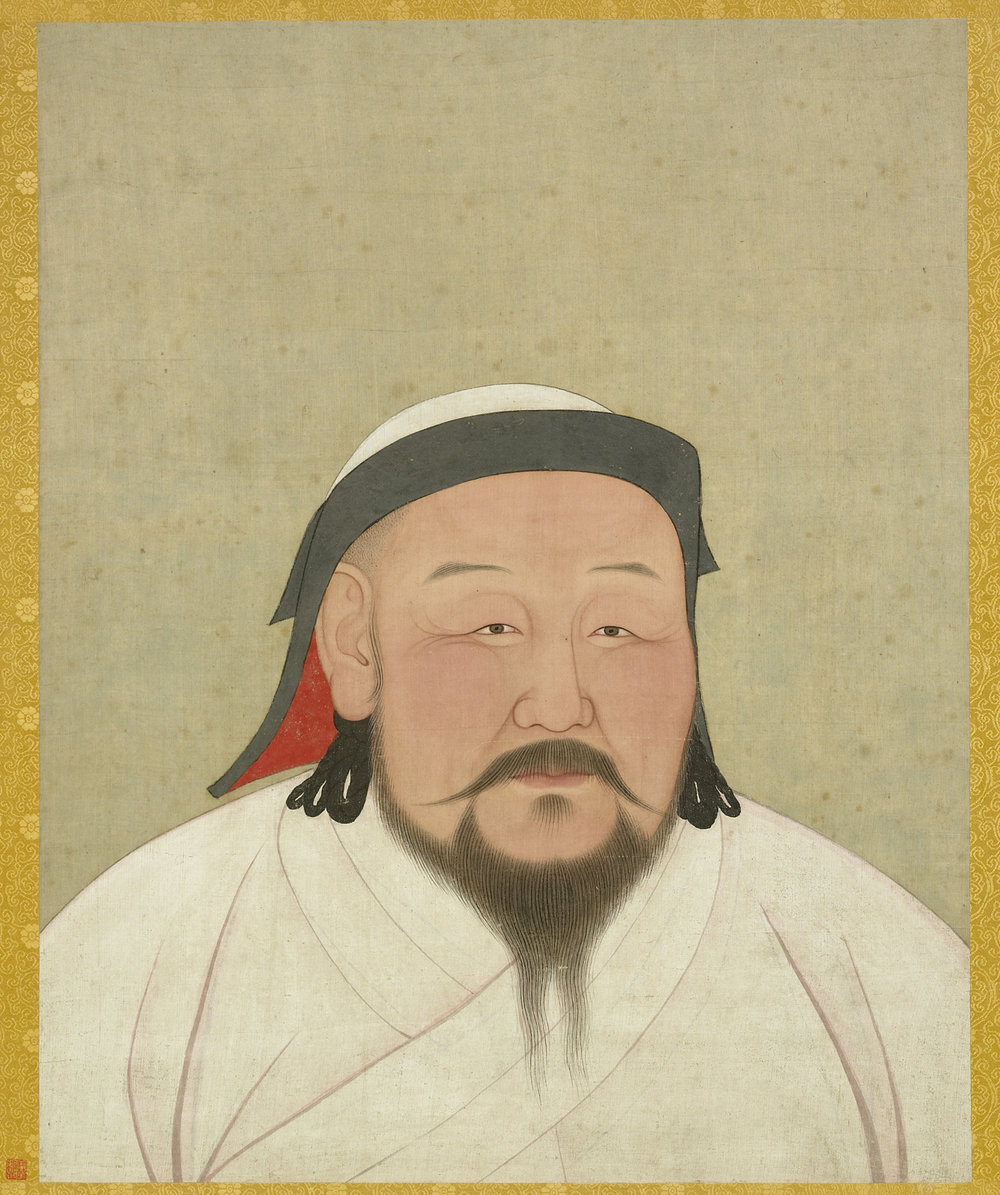 A painting of Kublai Khan, as he would have appeared in the 1260s (although this painting is a posthumous one executed shortly after his death in February of 1294, by a Nepalese artist and astronomer Anige, who is also Kublai Khan's confidant).  By Anige, via  Wikimedia Commons, Public Domain .
