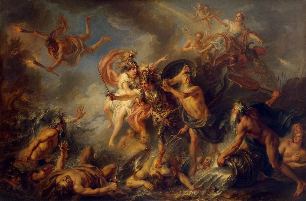 The Gods interfere Achilles' Slaughtering. The Fury of Archilles (1737). By Charles-Antoine Coypel via Wikmedia Commons. Public Domain.