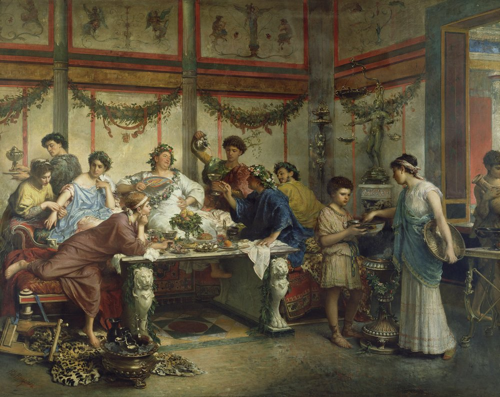 A Roman Feast [c.1887]. By Roberto Bompiani (Gandalf's Gallery), [CC BY-NC-SA 2.0],  flickr .