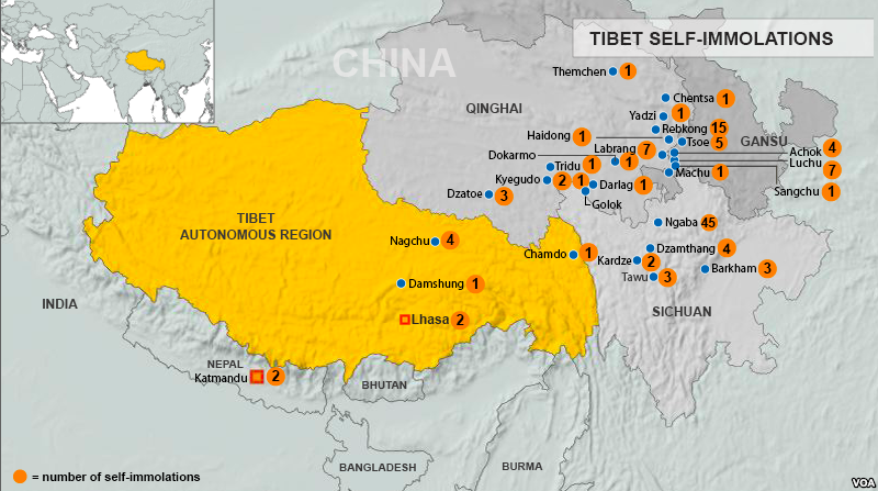 Map of Tibetan Self-Immolations  via WikiCommons; Public Domain