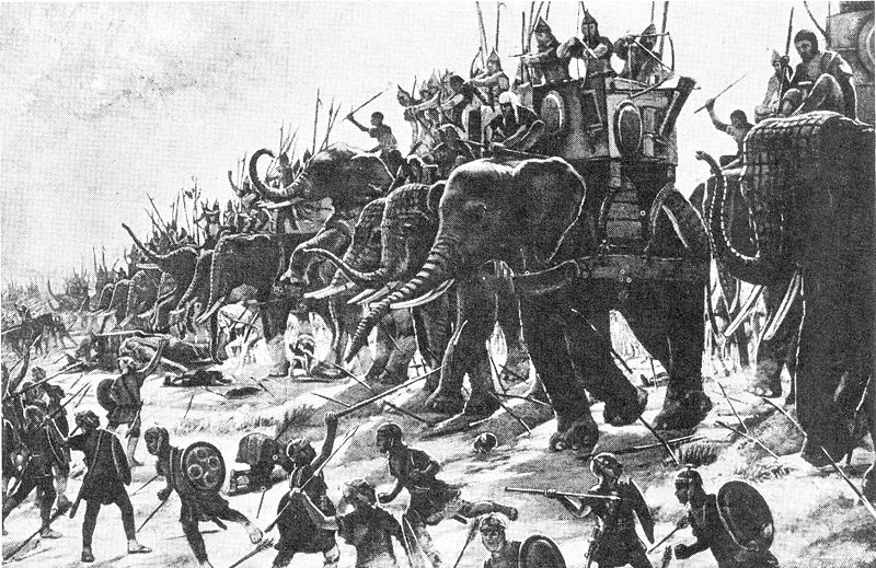 Carthaginian war elephants engage Roman infantry at the Battle of Zama (202 BC). Author: Henri-Paul Motte via Wikimedia Commons