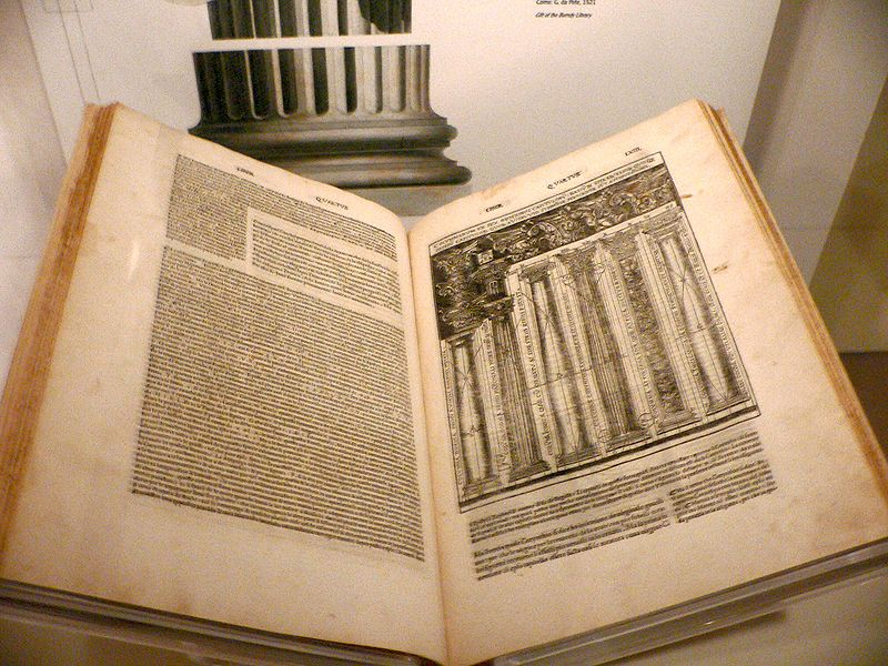 1521 Cesare Cesariano Italian translation of De Architectura Libri Decem (The Ten Books on Architecture) by Marcus Vitruvius Pollio.  Preserved in the Smithsonian Museum of Americam History. 1 December 2008. By Mark Pellegrini [ CC-BY-SA-2.5 ], via  Wikimedia Commons