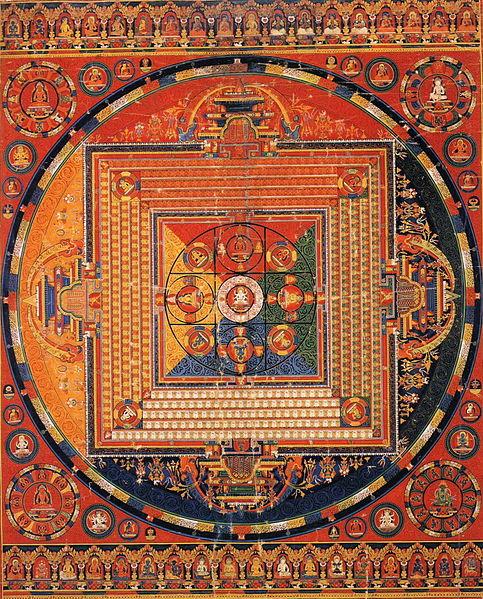 Manjuvajra Mandala with 43 deities, from Tibet via  Wikimedia Commons