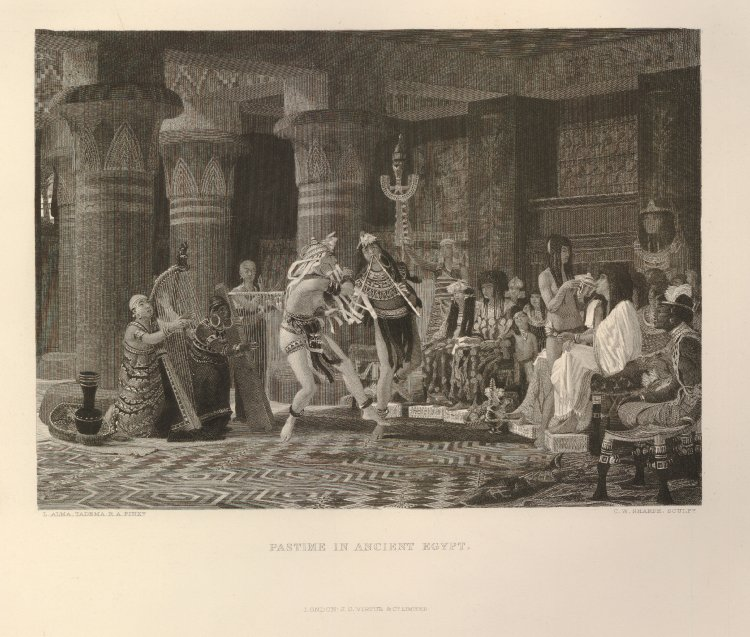 Illustration of dancers entertaining the Pharaoh who sits on his throne on the right, while musicians play on the left, and an attendant serves him a drink. Used for Art Journal, April 1874 as a depiction of a pastime in Ancient Egypt. Print made by Charles William Sharpe, published by Virtue & Co in London. Purchased from John Grant. [CC BY-NC-SA 4.0] via  British Museum Online Collection