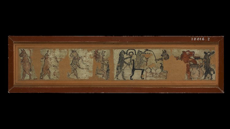 Fragments of an illustrated papyrus, showing animals engaged in human activities including a hippopotamus making beer, a cat waiting on a mouse, a lion making beer and a canine carrying grain. By British Museum (Purchased from Joseph Sams). [CC BY-NC-SA 4.0], via British Museum Online Collection